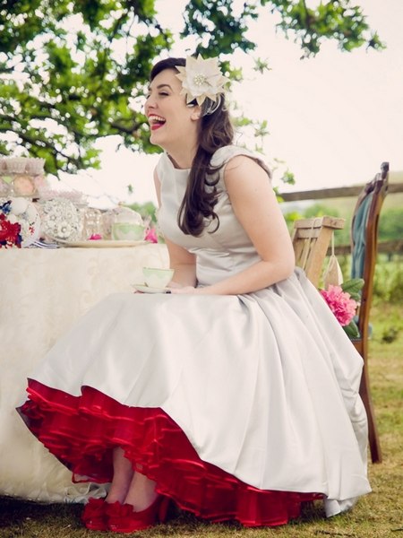 red tea length petticoat