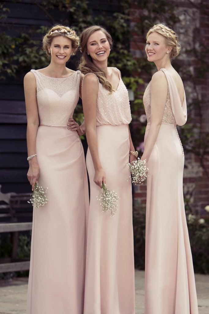 bridesmaid dresses in pastel colours